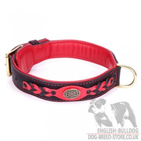 "Bullmastiff Leather Collar ""Heavy Fire"" Nappa Padded"