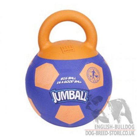 "Bulldog Dog Toy Ball of Rubber with Handle ""Jumball"""