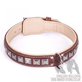"Dog Collar for British Bulldog ""Pyramid"" of Brown Leather"
