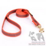 Bulldog Dog Lead of Orange Nylon with Slip-Proof Rubber Yarns