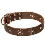 """Flower Symphony"" Leather Dog Collar Spring Decor for Bulldogs"