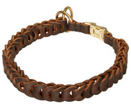Leather Choke Collar Braided for English Bulldog, Dog Choker