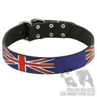 Designer Dog Collar with Union Jack Painting for British Bulldog