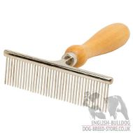 Dog Grooming Comb of Steel with Wooden Handle for Bulldogs