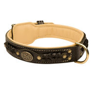Royal Dog Collar Nappa Padded, Luxury Design for English Bulldog