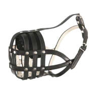 Soft Dog Muzzle for Bulldogs, Leather Soft Nappa Padded