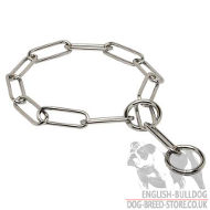 Chrome Plated Fur Saver for Adult Bulldog, Steel Dog Collar UK