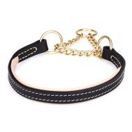Bulldog Collar of Nappa Padded Leather with Brass-Plated Chain