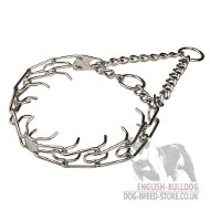 Bulldog Collar Prong of Chrome-Plated Steel, Smooth Surface