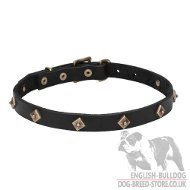 """Diamonesque"" English Bulldog Leather Dog Collar Necklace"