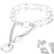 Bulldog Collar with Prongs for Behavior Training, Chrome-Plated