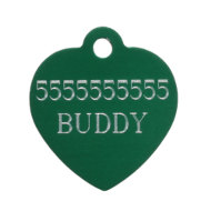 Bulldog ID Tag of Heart Shape with Custom-Made Engraving