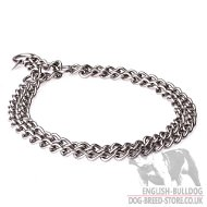 Welded Double Chain Dog Collar for Bulldog Obedience Training
