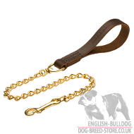 Chain Lead of Gold-Like Brass with Leather Handle for Bulldog