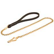 Chain Dog Lead of Goldish Steel with Leather Handle for Bulldogs