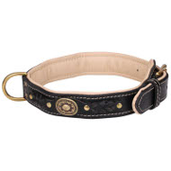 English Bulldog Royal Dog Collar of Leather with Nappa Lining