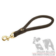 Dog Control Lead, Round Leather Pull Tab for English Bulldog