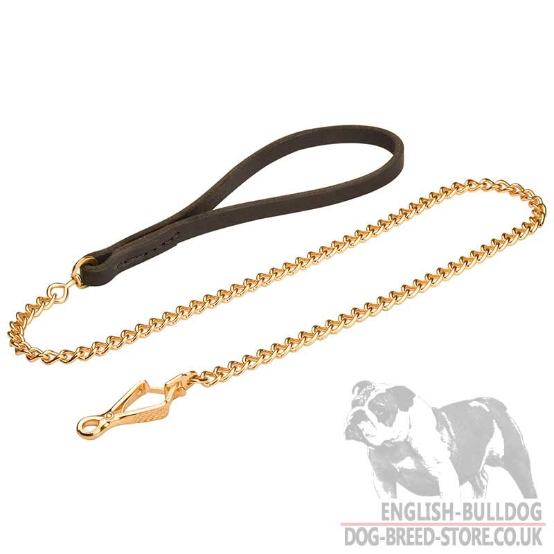 Dog Chain Lead Leather Handle for Bulldog - £40.10