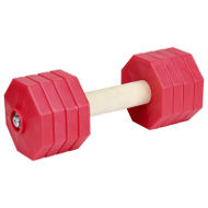 Dog Dumbbell of Wood and Red Plastic with 8 Weight Plates, 2 Kg