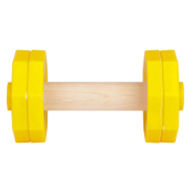 Retrieving Dog Dumbbell of Yellow Plastic and Wood for Bulldog