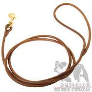 Dog Show Lead of Round Leather for English Bulldog, Classic