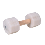 Dog Training Dumbbell of 1.4 lbs, White Removable Plastic Plates
