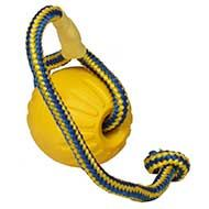 Dog Fetch Ball with Rope for Bulldog, Dura Foam Toy