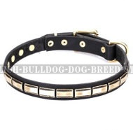 "English Bulldog Collar Leather FDT Artisan ""Wealth Effulgence"""