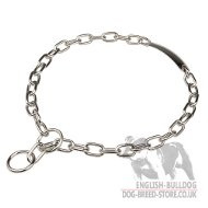 English Bulldog Collar Fur Saver Choke Chain with Name Plate