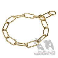 English Bulldog Collar Chain Fur Saver with Long Links of Brass