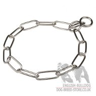 English Bulldog Collar Long Links Fur Saver Chain, Chrome-Plated