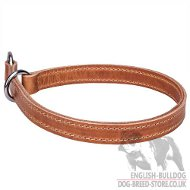 English Bulldog Collar of Two-Ply Leather for Obedience Training