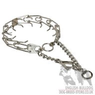 English Bulldog Collar Prong with Swivel and Small Snap Hook