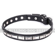 "English Bulldog Collar Narrow Leather ""Refined Classic"" Artisan"