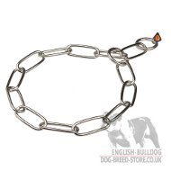 English Bulldog Collar Stainless Steel Fur Saver with Long Links