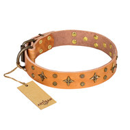 "English Bulldog Collar ""Top Flight"" Beige Leather FDT Artisan"