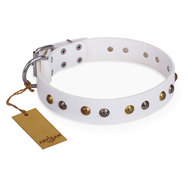 "English Bulldog Collar of White Leather ""Snowflake"" FDT Artisan"
