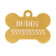 English Bulldog ID Tag Bone in 5 Colors with Custom Engraving