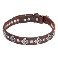 English Bulldog Leather Collar with Flower-de-Luce Unique Design