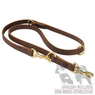 Dog Leash Hands Free, Brown Leather Lead for Bulldog (13 mm)