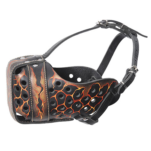 "Dog Training Muzzle Hand Painting ""Volcano"" for American Bulld"