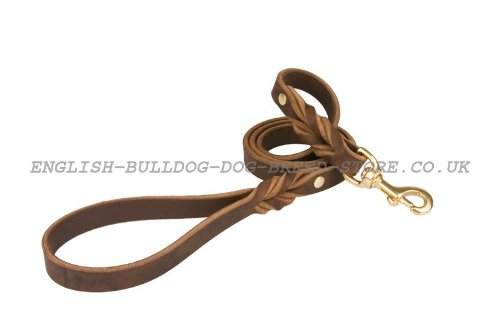 Dog Lead Leash Leather with Braided Elements for Bulldog