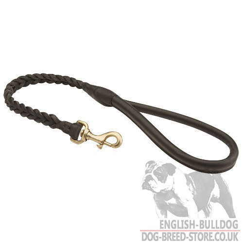 Leather Dog Lead with Braided Decoration for English Bulldogs