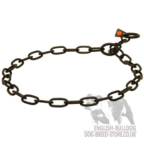 Bulldog Collar Fur Saver of Black Stainless Steel, Herm Sprenger
