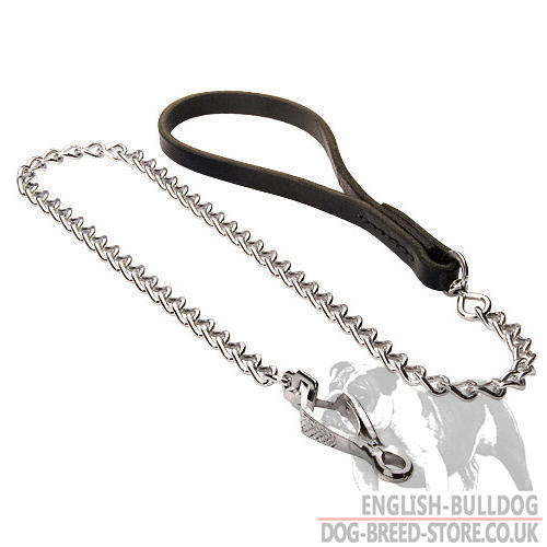 Chain Leash of Nickel-Plated Steel for Bulldog, Leather Handle