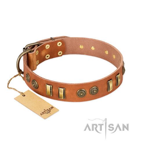 "English Bulldog Dog Collar Leather FDT Artisan ""Natural Beauty"""