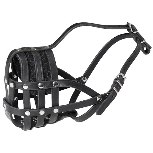Leather Dog Muzzle with Super Ventilation for English Bulldog