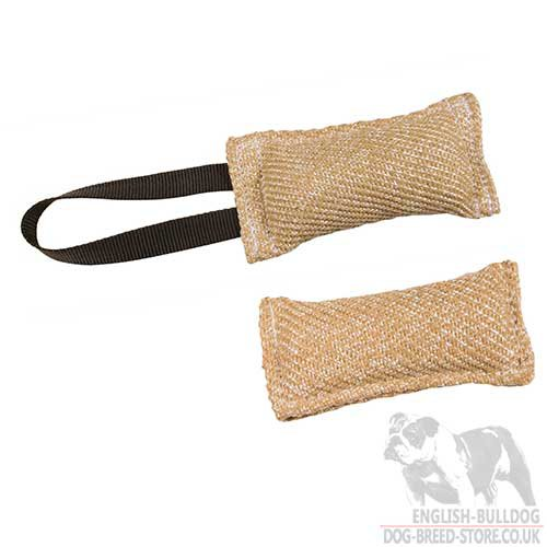 Tug Toy for English Bulldog Puppy Bite Training, Natural Jute