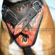 Leather Dog Harness for Boxer with Hand-Painted Flames of Fire